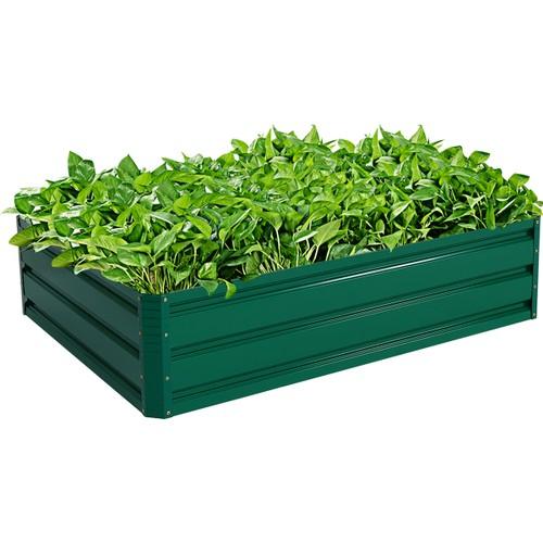 "Costway 47""x35.5"" Patio Raised Garden Bed Vegetable Flower Plant Dark Green"