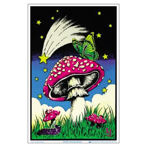 Mushroom Butterflies Black Light Poster