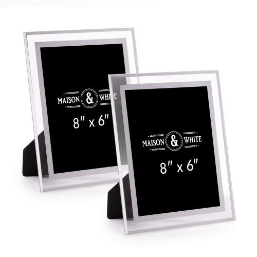 "Glass Photo Frames - Set of 2 | MandW 6"" x 8"""