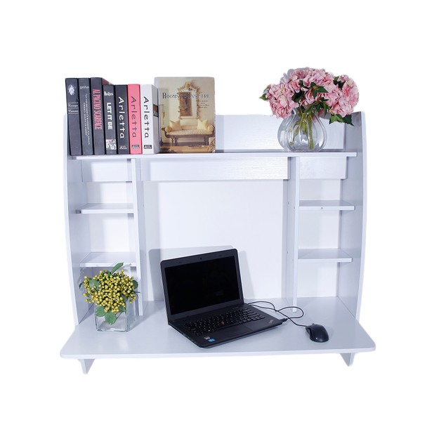 White Exquisite Room-saving Wall Built-up Computer Desk