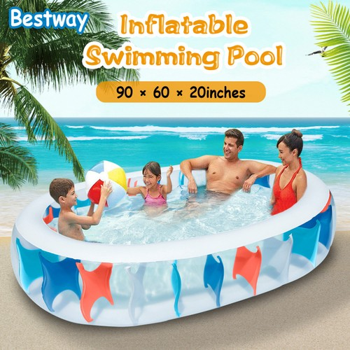 """90×60×20"""" Inflatable Swimming Pool Blow Up Family Pool For Kids"""