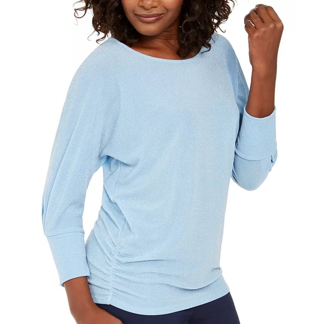 JM Collection Women's Metallic Boat-Neck Top Blue Size 2 Extra Large