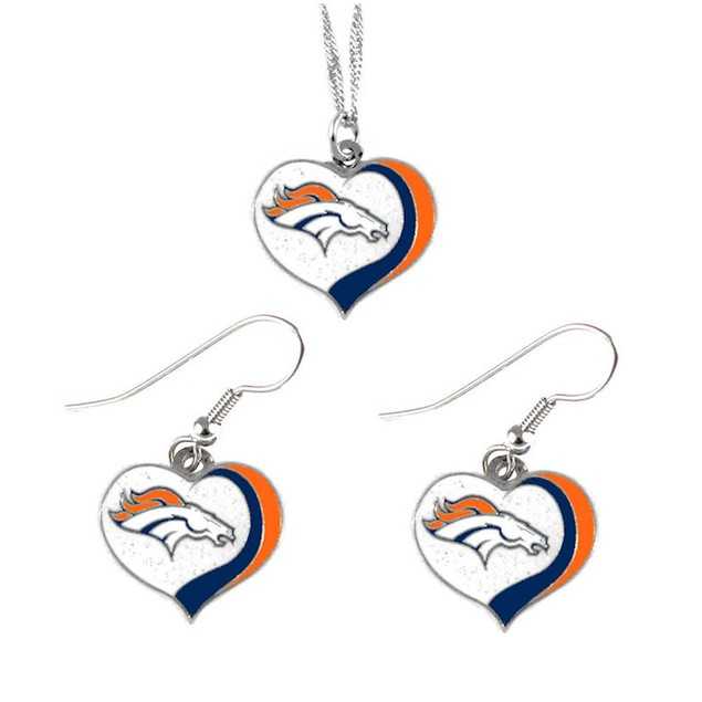 Denver Broncos NFL Glitter Heart Necklace and Earring Set Charm Gift