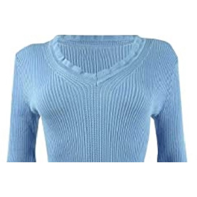 Hooked Up by IOT Juniors' Ruffled V-Neck Sweater Med Blue Size X-Small