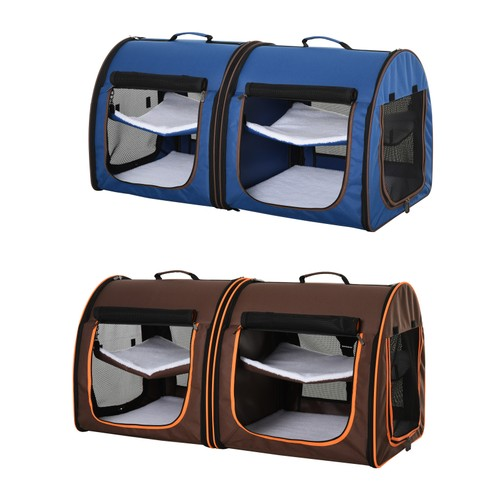 Large Portable Double Cat Pet Carrier Kennel Bag Oxford Travel Car Seat