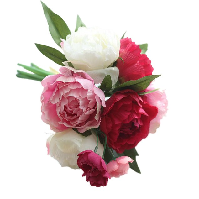 Artificial Fake Flowers Peony Bouquet Floral Wedding Bouquet Party Decor