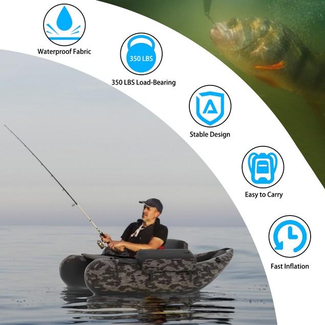 Goplus Inflatable Fishing Float Tube w/Adjustable Straps & Storage Pockets