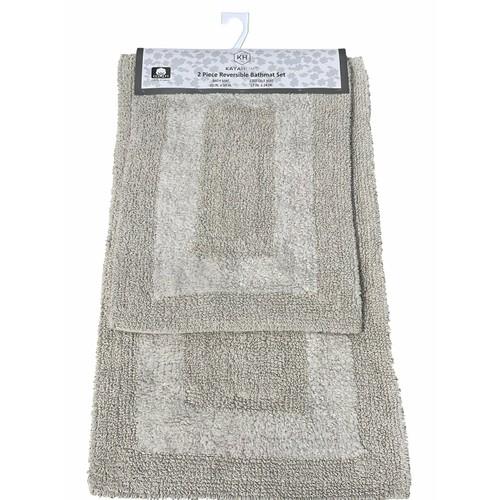 2-Piece Reversible Cotton Bath Mat Set