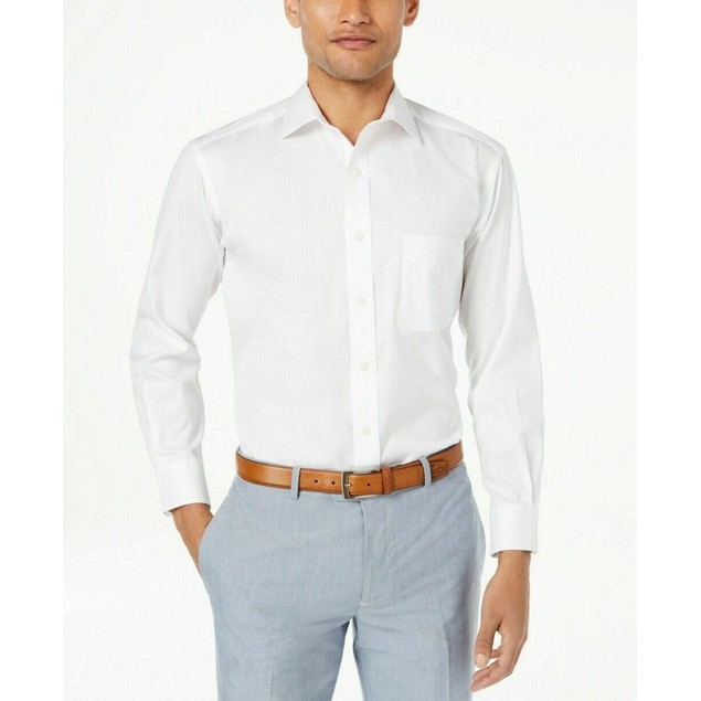Club Room Men's Slim-Fit Pinpoint Solid Dress Shirt  White Size 18-34-35