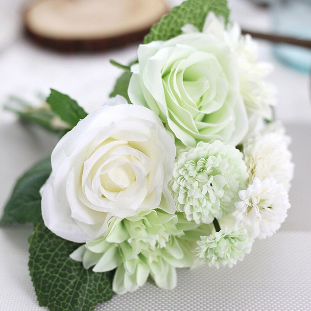 Artificial Silk Fake Flowers Leaf Rose Floral Wedding Party Home Decor