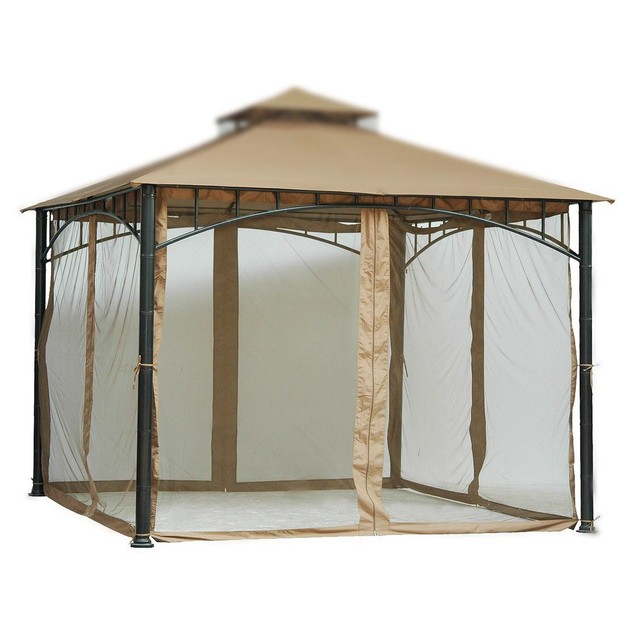 7 ft (84 in) Tall Beige Mosquito Net ONLY for 10x10 Gazebo w/ Velcro Straps