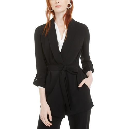 Bar III Women's Shawl-Collar Belted Blazer Black Size Small