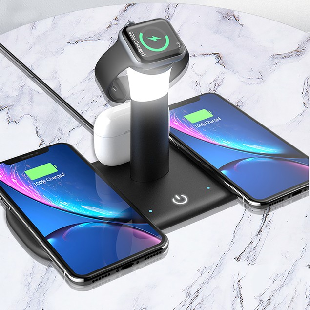 Zummy 5 in 1 Qi Wireless Fast Charger Stand for Apple Watch Air pods iPhone12