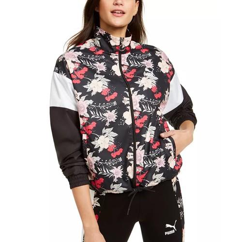 Puma Women's Print-Blocked Track Jacket Black Size Small