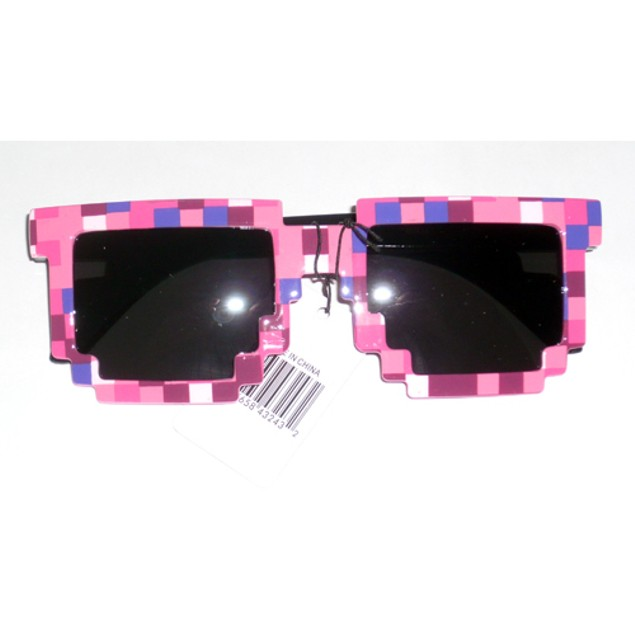 8-Bit Pixelated Pink Sunglasses Geek Square Retro Dark Nerd 90's Arms Adult