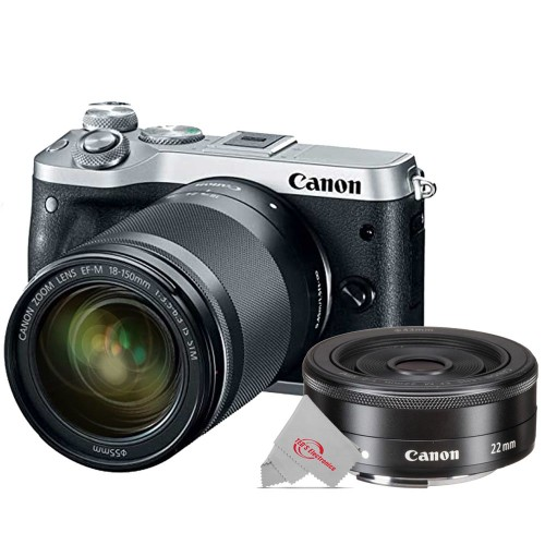 Canon EOS M6 Mirrorless Digital Camera Silver with 18-150mm Lens + Canon EF-M 22mm f2 STM Compact System Lens