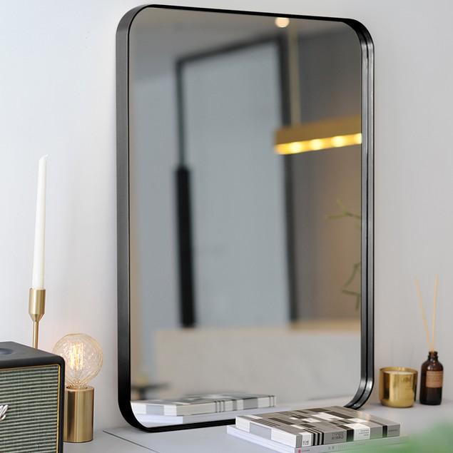 "32""x20"" Wall-Mounted Rectangle Mirror Metal Frame Bathroom Entryway Black"