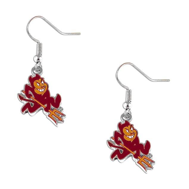 "Arizona state Sun Devils Silver Dangle ""Sparky"" Logo Earring Set NCAA Gift"