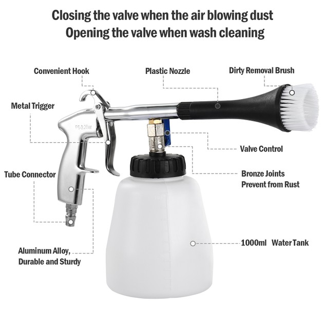 Car Cleaning Gun Air Pulse Tornado Sprayer Dust Removal Nozzle Washer
