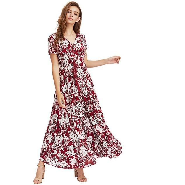 Women's Floral Boho Button Up Split Maxi Dress