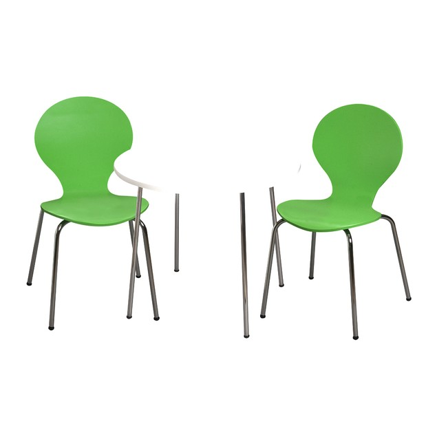 Giftmark Childrens Table And 2 Chairs Chrome Legs (Green Color Chairs)