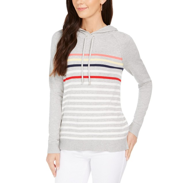 Charter Club Women's Striped Hooded Sweater Gray Size Extra Large