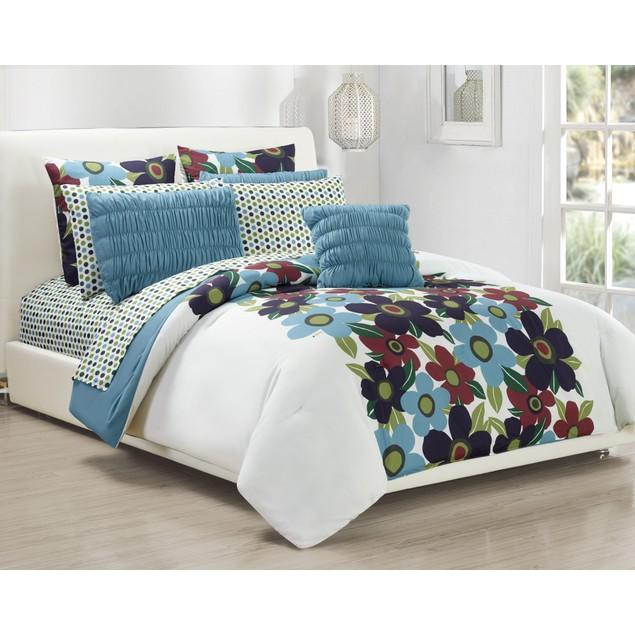 10 Piece Oversized Floral Queen Comforter Set