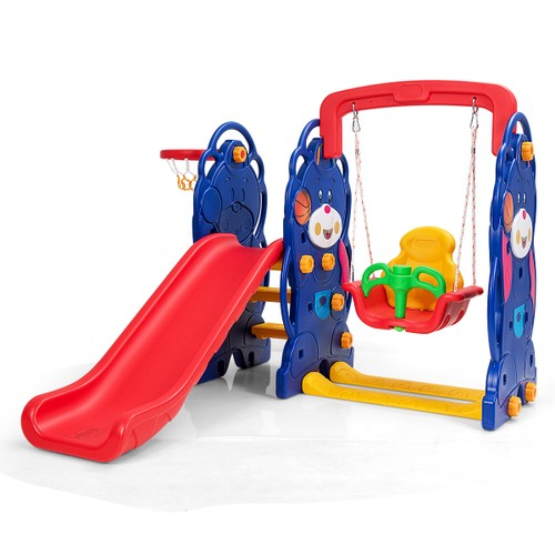 3 in 1 Toddler Climber and Swing Set Kid Climber Slide Playset w/Basketball