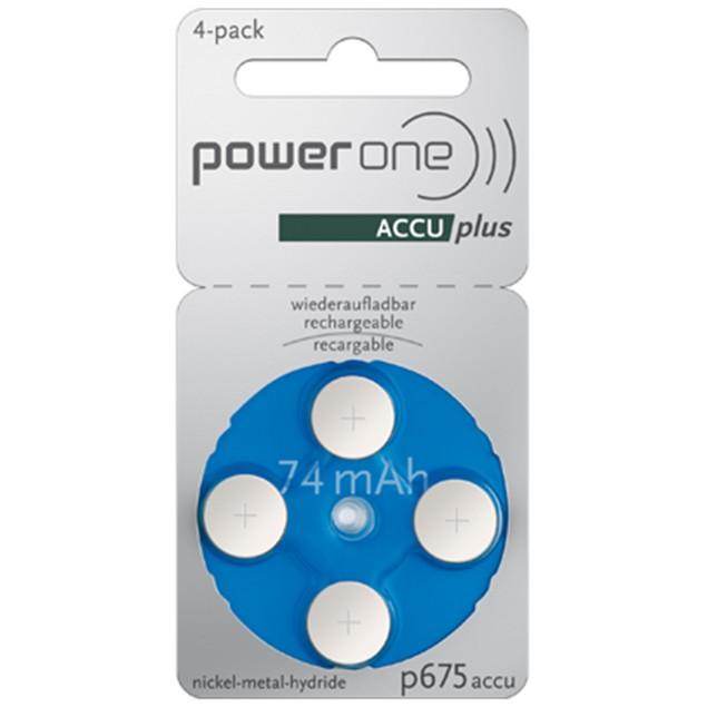 Power One ACCU Plus Size 675 Rechargeable Hearing Aid Batteries (4 pcs)