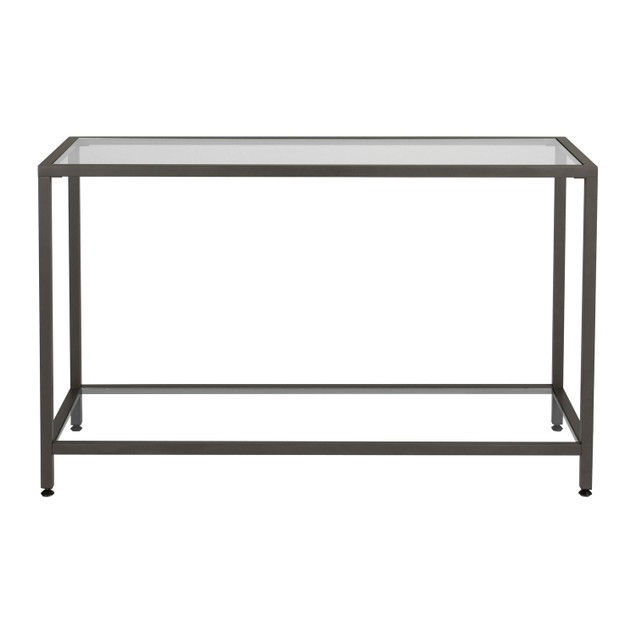 Studio Designs Camber Collection Rectangle Clear Glass Console Table-Pewter