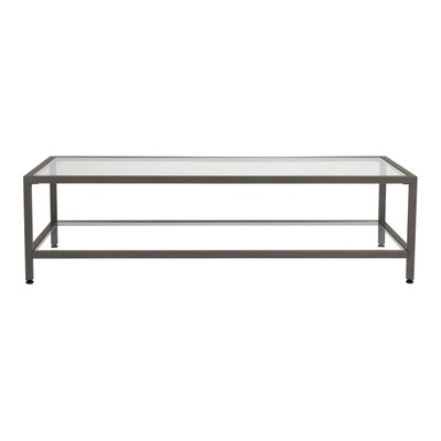 Offex Camber Collection Rectangle Clear Glass Coffee Table - Pewter