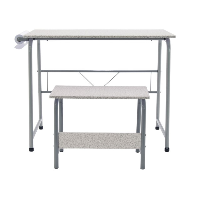 Project Center, Kids Craft Table with Bench - Gray / Spatter Gray