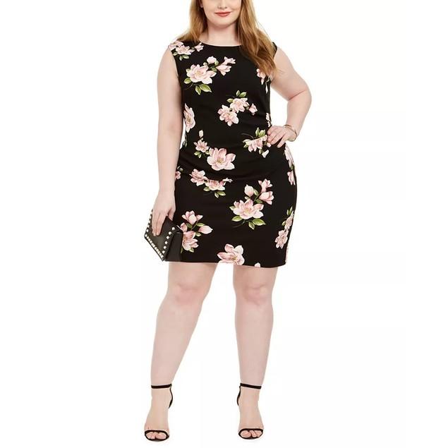 Jessica Howard Women's Plus Size Floral-Print Sheath Dress Black Size 24