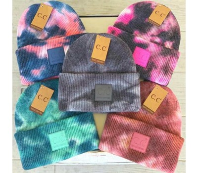 Tie-Dye Knitted Melon Leather Beanie Hat Was: $20.99 Now: $13.99.