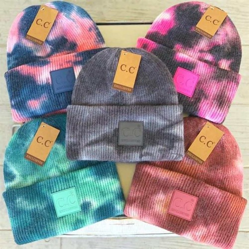 Tie-Dye Knitted Melon Leather Beanie Hat