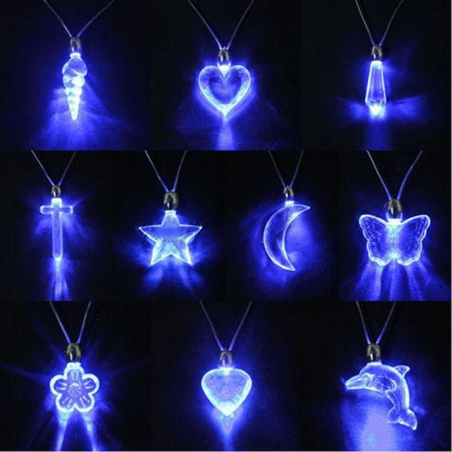 LED Blue Magnetic Light Charm Pendant Necklace