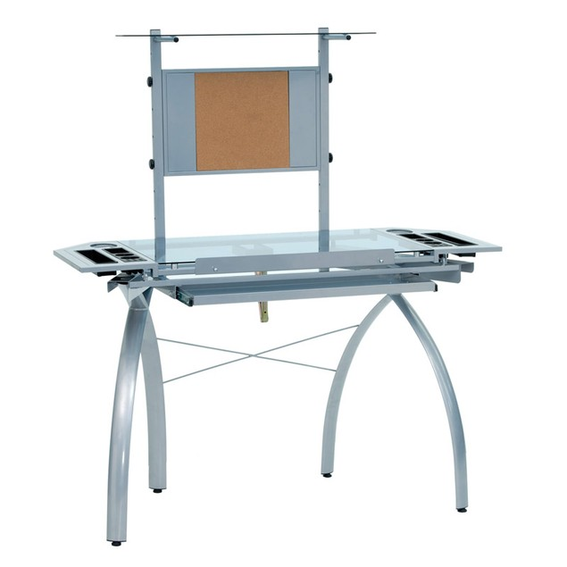Offex Futura Tower Blue Tempered Glass Top Drafting Table