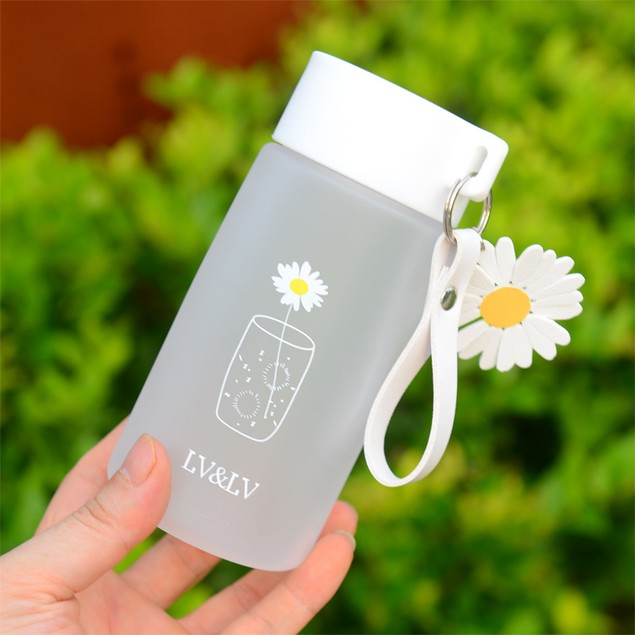 Small Daisy Plastic Cup Creative Male and Female Students Anti-fall Water Cup Outdoor