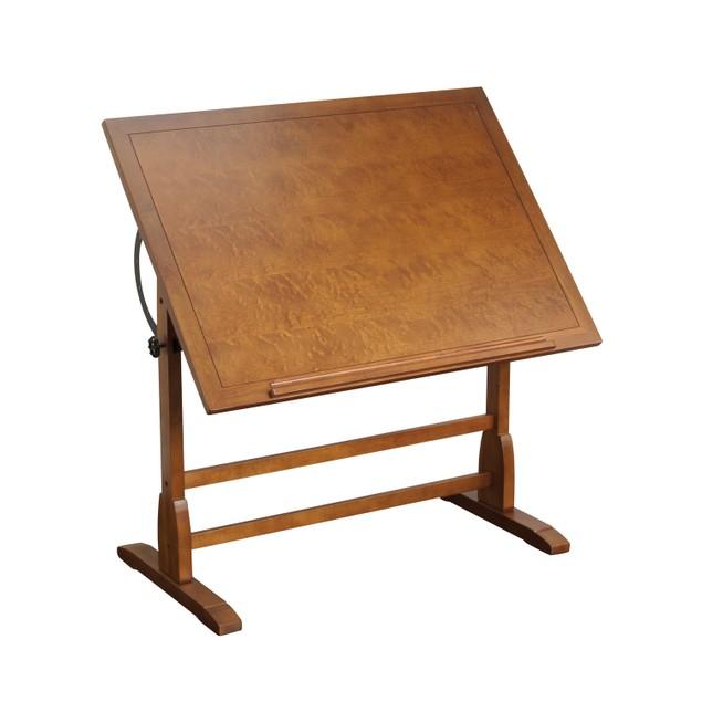"Offex Elegant Distressed Wood Vintage Drafting Table Rustic Oak 42"" x 30"""