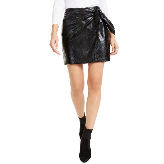 Leyden Women's Snake-Embossed Mini Skirt Black Size Small