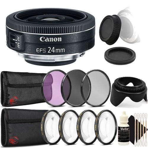 Canon EF-S 24mm f/2.8 STM Lens  + 52mm Filter Kit + Macro Kit + Tulip Lens Hood + Rear & Front Cap + 3pc Cleaning Kit