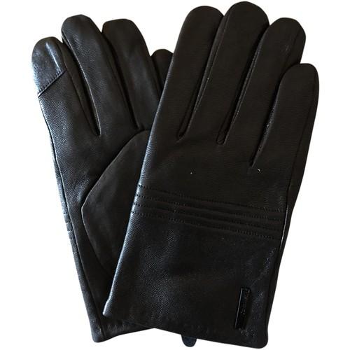 Calvin Klein Men's Faux-Leather Touch-Screen Gloves Black Size Medium