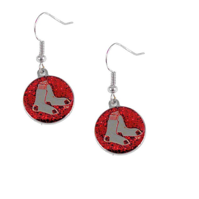 Boston Red Sox Glitter Sparkle Dangle Logo Earring Set Charm Gift MLB
