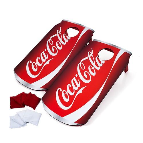 Coca Cola Can Cornhole Set with Bags Backyard Lawn Game