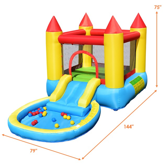 Costway Inflatable Bounce House Jumping Castle Slide Pool Bouncer w/ Balls
