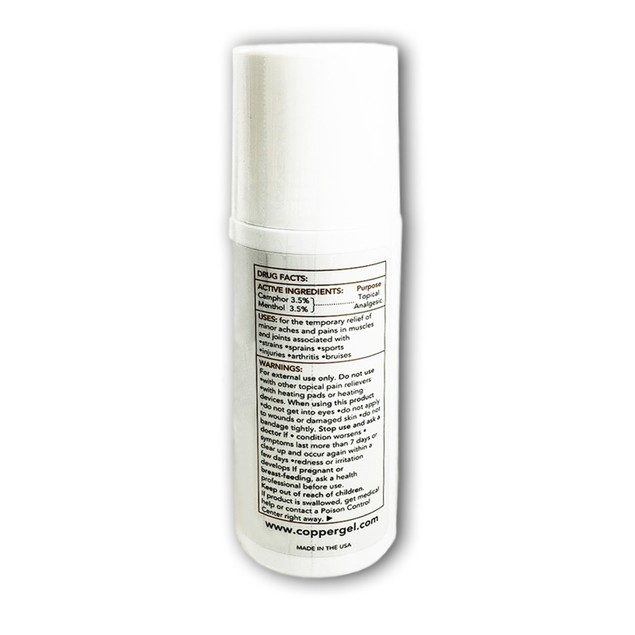 CopperGel Fast Acting Pain Relief Topical Roll-On Cooling Gel, 3 Oz.