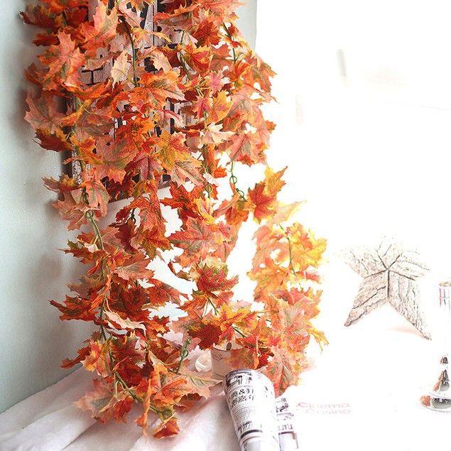 Artificial Fake Leaf Maple Leaf Long Rattan Simulation Leaves Home Decor
