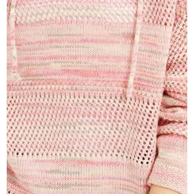 Hooked Up By IOT Juniors' Pointelle Hoodie Pink Size Small