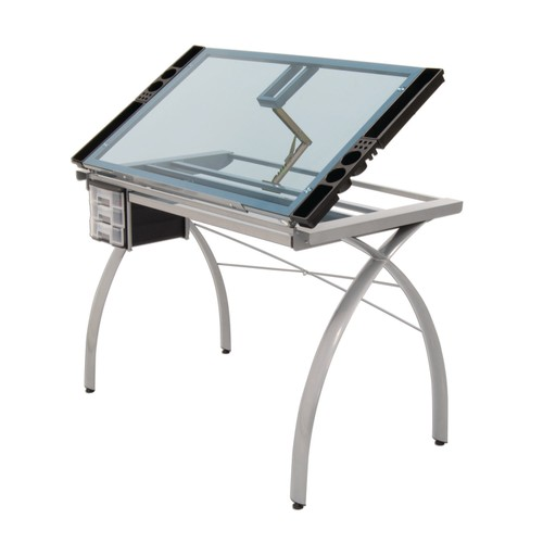 Offex Contemporary Blue Tempered Glass Top Futura Craft Station