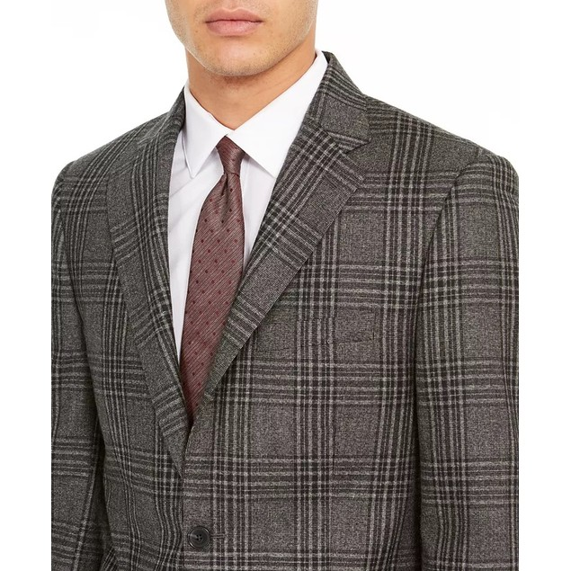 Calvin Klein Men's Slim-Fit Plaid Wool Sport Coat Dark Gray Size 38